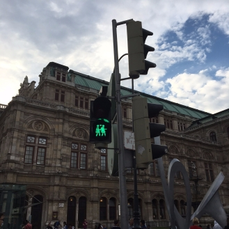 Hold my hand and cross the street with me in Vienna, Austria.